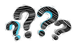 Blue and black hand drawn question marks Royalty Free Stock Image