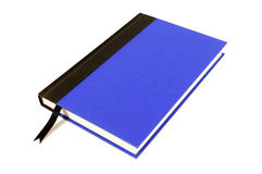 Blue and black hardback book with bookmark isolated on white background Stock Photo