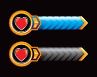 Blue and black heart icon arrow banners Stock Image