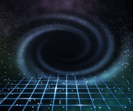 Blue Black Hole in Space Background Stock Images