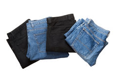 Blue and black jeans. Object on white - clothes jeans close up royalty free stock images