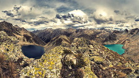 Blue and Black lakes high in the Caucasus mountains Stock Photo