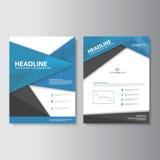 Blue black polygon brcochure templates flat design set for brochure flyer leaflet marketing Stock Image