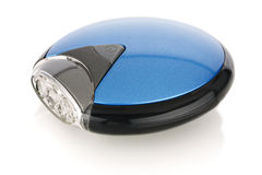Blue and black portable LED flashlight Stock Photography