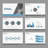 Blue Black presentation template Infographic elements flat design set for brochure flyer leaflet marketing advertising Royalty Free Stock Photography