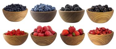 Blue-black and red berries isolated on white. Mulberry, blueberry, blackberry, currant, strawberry and raspberry. Collage of different fruits and berries Royalty Free Stock Images