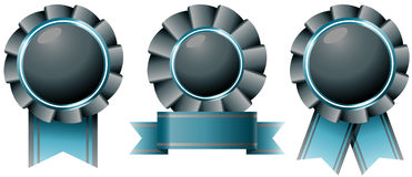 Blue black ribbon award set Stock Photo