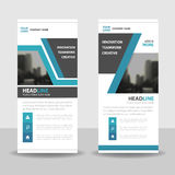 Blue black roll up business brochure flyer banner design , cover presentation abstract geometric background Stock Images