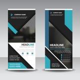 Blue black roll up business brochure flyer banner design , cover presentation abstract geometric background, modern publication. X-banner and flag-banner stock illustration