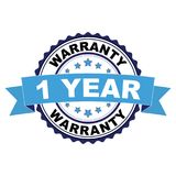 Rubber stamp with 1 year warranty concept. Blue black rubber stamp with 1 year warranty concept Stock Photography