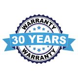 Rubber stamp with 30 years warranty concept. Blue black rubber stamp with 30 years warranty concept Stock Photos