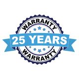 Rubber stamp with 25 years warranty concept. Blue black rubber stamp with 25 years warranty concept Royalty Free Stock Photos