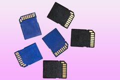 Blue and black Sd memory cards Royalty Free Stock Photo