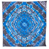 Blue and black silk scarf with abstract pattern Stock Photos