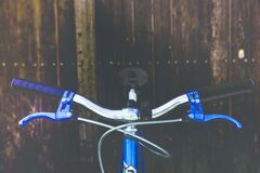 Blue Black and Silver Bicycle Royalty Free Stock Photos