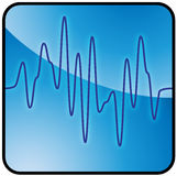 Blue audio signal button. Blue and black sinusolidal graph symbol vector illustration