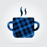 Blue, black tartan icon - cooking pot with smoke Royalty Free Stock Image