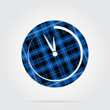 Blue, black tartan icon - last minute clock. Blue, black isolated tartan icon with white stripes - last minute clock and shadow in front of a gray background vector illustration