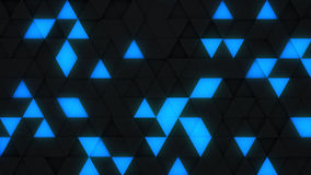 Blue and black triangles extruded 3D render. Blue and black triangles extruded. Abstract background with geometric elements. 3D render illustration Stock Photo