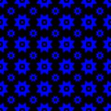 Blue on black with two different sized stars with squares and circles seamless repeat pattern background. Two colour of two different sized stars with squares Royalty Free Stock Photo
