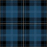 Blue and Black Tartan Plaid Seamless Scottish Pattern. Blue, black and white tartan plaid seamless Scottish pattern design of clan Macpherson Royalty Free Stock Images