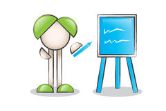 Blue Blackboard Cartoon Character Royalty Free Stock Photo
