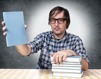 Blue blank book Stock Images