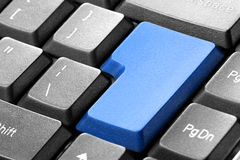 Blue blank button on the keyboard Stock Photo