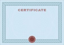Blue blank certificate Royalty Free Stock Images