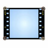 Blue blank film strip frame with metal nail isolated Royalty Free Stock Photo