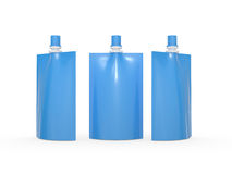 Blue blank juice  bag packaging with spout lid, clipping path in Royalty Free Stock Image