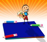 Blue Blank Note With Copyspace Kid 3d Illustration. Blue Blank Note And Copyspace Kid Displays Empty 3d Illustration Stock Photos