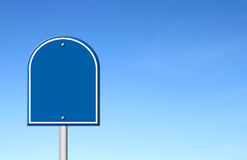 Blue blank sign with blue sky Stock Photos