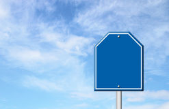 Blue blank sign with blue sky Royalty Free Stock Photo