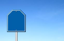 Blue blank sign with blue sky Stock Photography
