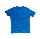 Blue Blank T-shirt for Mockup Isolated on White Stock Images