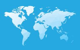 Blue blank world map. Modern style blue blank world map royalty free illustration