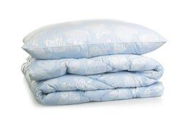 Blue blanket. Duvet blue blanket  on white background Stock Image
