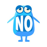 Blue Blob Saying No, Cute Emoji Character With Word In The Mouth Instead Of Teeth, Emoticon Message Royalty Free Stock Photography
