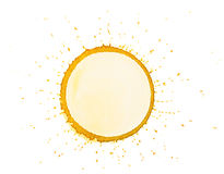 Blue blob. Yellow paint circle art sun blob blank isolated on a white background royalty free stock photos
