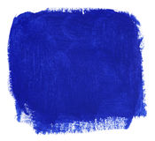 Blue block of gouache paint brush. Hand painted blue block of paint on white background royalty free illustration