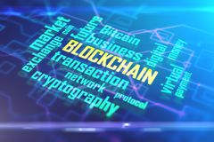 Blue blockchain background. Abstract digital blockchain background. Cryptography concept. 3D Rendering Royalty Free Stock Photography