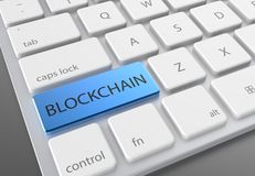 Blue blockchain button on modern white keyboard. 3d illustrating.  Stock Image