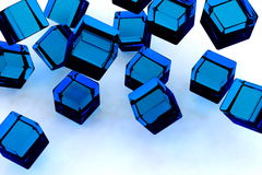 Blue blocks. Abstract image of falling of glass blue blocks Royalty Free Stock Images