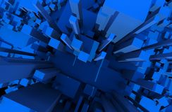 Blue Blocks. Abstract Background - 3D Render Illustration Royalty Free Stock Photo