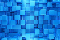 Blue blocks background. Blue blocks abstract background - 3d render Royalty Free Stock Photos