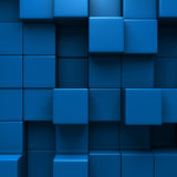 Blue Blocks Wall Geometric background. 3d Render Illustration Stock Photo