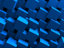 Blue Blocks Wall Geometric background. 3d Render Illustration Stock Photography