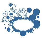 Blue blot and flowers frame Stock Photo