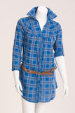 Blue blouse with belt Royalty Free Stock Images